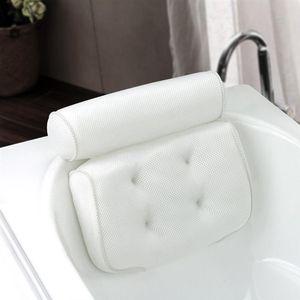 LUOEM transpirable malla 3D Spa almohada de baño con ventosas de cuello y espalda Soporte Spa Almohada para el hogar Bañera de hidromasaje