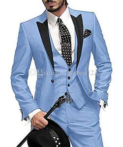 High Quality One Button Light Blue Wedding Groom Tuxedos Peak Lapel Groomsmen Men Formal Prom Suits (Jacket+Pants+Vest+Tie) W203