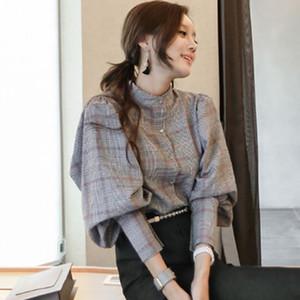 ZAWFL Yüksek Kaliteli 2019 Kadınlar Bluzlar Casual blusas Yaka Boyun Düğmeler Uzun Kollu Bölünmüş Asimetrik Ekose Gömlek Print Tops