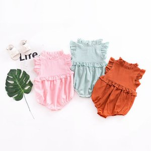 Hot Newborn Baby Girls Princess Ruffle Lace Collared Sleeveless Romper Jumpsuit 0-24M Clothes Outfits Summer 3 Colors