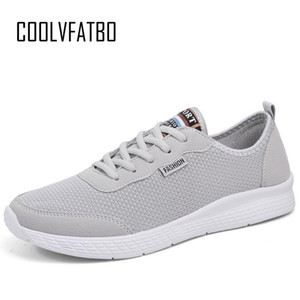 Chaussures confortables Mode Hommes Lace Up Sneakers Coolvfatbo unisexe maille Flats été Sneakers Respirant Chaussures Casual Plus Size