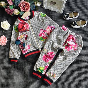 vestuário Boy Girl Fashion Treino do bebé do outono Roupa florais Set Crianças manga comprida Top Flores Pants 2 PCS Fatos
