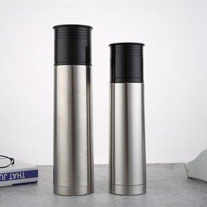 السفر المحمولة 500ML / 750ML مزدوجة الجدار الصلب المقاوم للصدأ فراغ معزول القدح القهوة على نطاق زجاجة الفم ماء مع غطاء