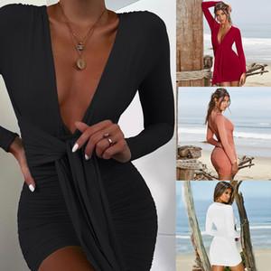 Sexy tiefer V-Ausschnitt-Verein-Kleid-lange Hülse, figurbetontes Kleid Frauen-Partei-Nacht Robe eleganten Weinlese-Verband-Kleid-Weiß-Rot-Schwarz-Rosa