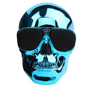 Sunglass Crânio Speaker Bluetooth sem fio melhor USB Speaker cabeça Forma Crânio presente Dia das Bruxas, TF, FM, fonte portátil