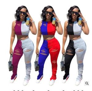 여자 디자이너 중공 아웃 패치 워크 운동복 2 개 긴 스택 바지 의류 여성 높은 허리 두 조각 바지를 설정합니다