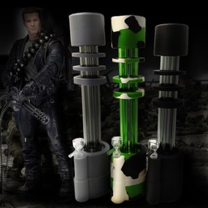 Hot Sale 13 Inches Gatling Silicone Bong Water Pipe silicone Bongs Dab Rigs Glass Gun Tubes with glass bowl 14mm free shipping