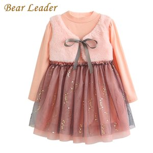 Bear leader meninas dress new outono casual estilo dos desenhos animados rosa manga longa de lã arco projeto para a princesa dress meninas roupas q190522