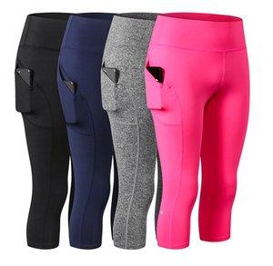 Kadınlar Capri İçin Spor Yüksek İnce Bel Cep Tozluklar 3/4 Yoga Sıkıştırma Tayt Gym Pantolonlar Spor Giyim Spor Koşu