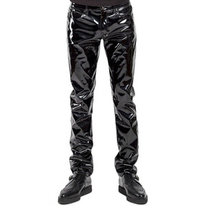 Más el tamaño de los hombres Sexy Negro Wetlook Faux Leather Lingerie Exotic Pu Latex Catsuit Zipper Pvc Etapa Clubwear Gay Fetish Pantalones C19031601