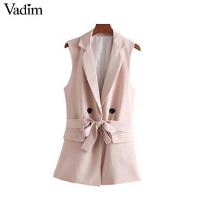 Vadim women elegant pocket waist coat sleeveless vests bow tie sashes single button jacket pink outwear top feminino MA023