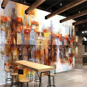 Özel 3D Duvar Resmi Fotoğraf Wallpaper Petrol Renk Bina İletişim Kağıt İçin Salon Televizyon Koltuk Arka plandan arasında Boyama