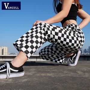 Vangull Plaid Pants Womens taille haute Checkered droite pantalon de survêtement lâche Casual Pantalon de mode Pantalon Femme Pantalon de survêtement MX190716