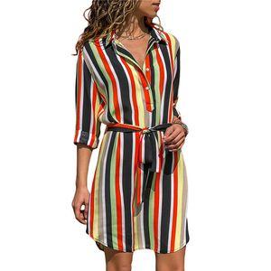 19SS Langarm-Shirt-Kleid-Sommer-Chiffon- Boho Strand-Kleid-Frauen-beiläufige gestreiftes Drucken A-Linie Minipartei-Kleid Vestidos