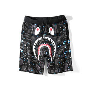 Bape Mens Pantaloni corti Fashion Designer Mens Hip Hop Shark Stampa Pantaloni Summer Beach Shorts Nero M-XXL