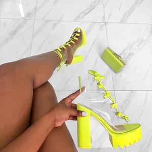 Неон зеленый ПВХ Jelly сандалии Open Toe Шнуровке Гладиатор Высокие каблуки Летняя обувь платформы пятки сандалии Transparent Большой размер 43 LY191202