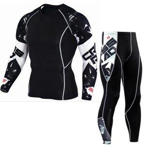 تشغيل مجموعات الرجال ضغط الركض الدعاوى مجموعة طويلة تي شيرت السراويل اللياقة البدنية ملابس تجريب الجوارب الدراجات الملابس 2 قطعة / المجموعة S-3XL