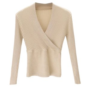 Hot Selling Women Casual Solid Knit Tunic Tops Slim Long Sleeve V Neck Shirts Sweater Club