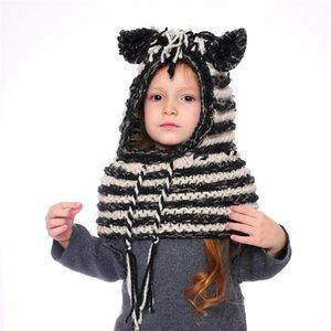 AMUSE 2 em 1 lenço cap crianças infantil Llama zebra Aqueça desenho animado malha Chapéus Crianças mais quente inverno crochê listrado gorros LJJA2815