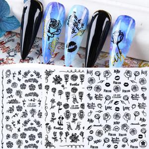 Adhesivo 3D del clavo de la etiqueta pegatinas Oro / Negro / Rojo flores de Rose abstracta de la cara Sliders Láminas Cintas Nail Art Decoración TRCB196-203-1