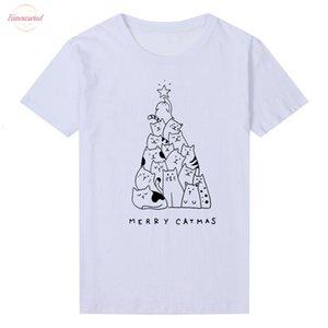 Merry Catmas Tshirt Women Funny Print Cat Trees Kawaii Festival Teenage T Shirt Fashion Short Tops