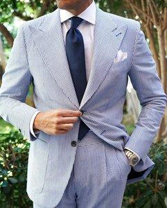 2 Pieces Pinstripe Mens Wedding Suits Peaked Lapel Groom Formal Wear Prom Tuxedos Best Man Blazer Suit (Jacket+Pants)