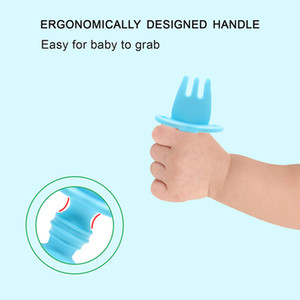 Silicone baby spoon fork combination set children's food supplement tableware learning to eat training fork soup rice spoon