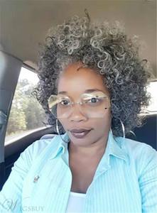Sel et poivre vrais cheveux gris bouclés queue de cheval style afro puff 14inch extension queue de cheval de cheveux humains gris argent pour les femmes noires