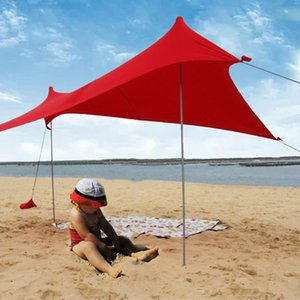 Playa Parasol camping alto estiramiento yarda del jardín al aire libre pesca de la tienda con la bolsa de arena Familia plegable portátil Refugio de hierro Polos