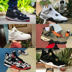Satış 2020 Bred Kara Kedi 4 4s Basketbol ayakkabı erkekler NRG Raptors Beyaz Çimento Encore Wings Ateş Kırmızı Singles Tasarımcı Sneakers IV Saf Eğitmenler