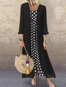 Autunno Boho Dress Plus Size Maglia a manica lunga Pois collare rotondo lungo vestito delle signore Boho Dot Lace Up Maxi Dress