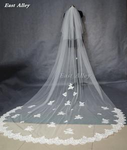 2018 Popular New Style Branco Ou Marfim 2 Camada de 3 Metros Borda de Renda Catedral Comprimento Do Casamento Véu de Noiva C19041101