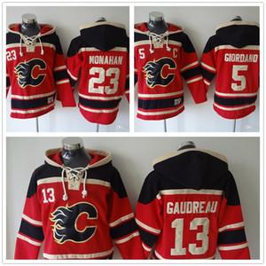 2018 Mens Calgary Chamas Hoodies Hóquei Jersey 13 Johnny Gaudreau 23 Sean Monahan Camisolas Casaco de Inverno Red venda quente M-3XL