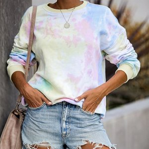 Popular European and American Womens Popular Rainbow Tie-Dyed Starry Long-Sleeved Pullover Sweater 2020 Spring and Summer Hot Sale