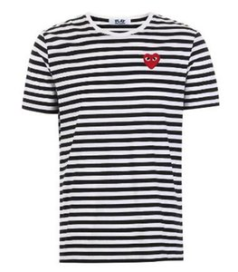 CDG PLAY commes mens designer t shirts OFF With Heart sport tee Shirts des garcons White Pablo stripe Shirts For Summer vetements