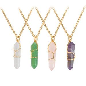 Ожерелье шестигранной розовый кварц Healing Красиво точка с золотой цепочке женщин роскошный подарок ювелирных кристаллов и ожерелье из натурального камня