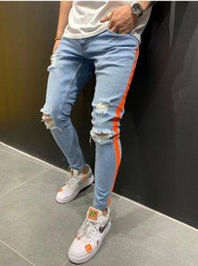 2020 New Arrival Mens Designer Jeans Brand Fashion Casual Streetwear Stretch Ripped Jeans Side Stripe Printed Pants S-XXXL