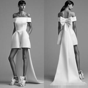 2019 Designer Newest Short Tute Abiti da cerimonia da sera bianco High Low Satin Back Bow economici Formale Prom Party Dress Abiti Robe De Soiree