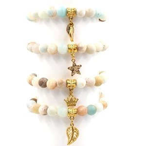 Pulsera de piedra natural Amazon Scrub Stone Cinco puntas Star Leaf Crown Colgante Charm Bracelet Bead Bracelet