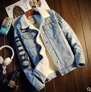 Men Jacket and Coat Trendy Warm Fleece Thick Denim Jacket Winter Fashion Mens Jean Outwear Male Cowboy Plus Size