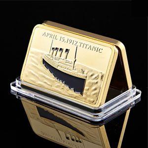 1912 Titanic Boat Navio 1 onça Bar Of 24Kt Placa de Ouro Lingote 100 Ornamentos Presente do aniversário Início Art Gold Collection Modern