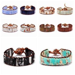 Каменная трубка бусины Богемия браслет ювелирные изделия ручной работы многоцветные натуральные бусины кожа обмотка браслет пара браслет творческая благосклонность RRA2770