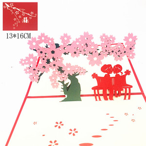 1pcs Cherry Blossom Lover 3D Pop Up Greeting Cards With Envelopes Postcard for Valentine' Day Birthday Party Wedding Decoration
