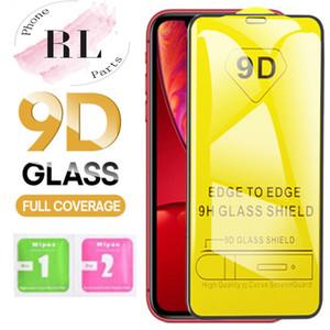 9D iPhone 11 Pro Xs Max X XR 7 8 Samsung S10 A50 M20 9H Tam Kapak Tutkal ekran koruyucusu için sertleştirilmiş cam