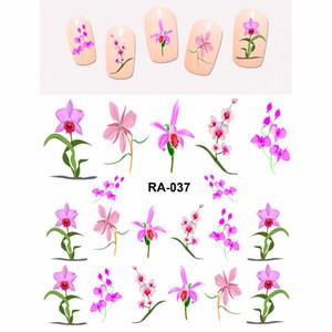 Дешевые наклейки Таблички NAIL ART BEAUTY ВОДА СТИКЕР DECAL SLIDER ELEGANT FLOWER FLORID ОРХИДЕЯ PURPLE PINK PETAL RA037-042
