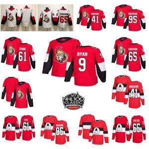 Ottawa Senators 100th Classic 65 Erik Karlsson 95 Matt Duchene 61 Mark Stone 41 Jerseys de hockey Anderson