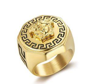 Fashion Old Man's Medusa Head Top 18K Gold Men's Punk Design Titanium Steel Medusa Head Ring Hip-hop Jewelry Size 7-13