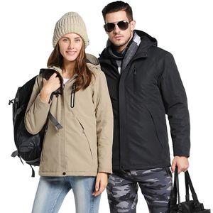 Женские пушистые Parkas зимние пальто женские толстые хлопчатобумажное управление USB нагрев теплый куртка и куртки с капюшоном пальто