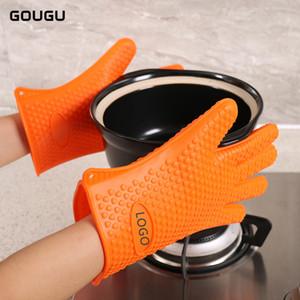 1PC GOUGU Grosso Silicone Forno Luva resistente ao calor coração churrasco Mitts antiderrapante Pot Holder luvas de cozinha Baking Dedos