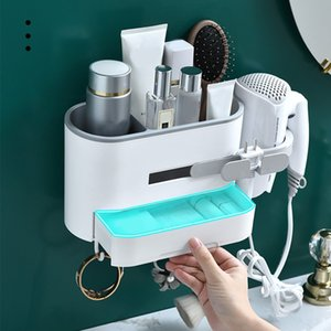Bathroom Wall Mounted Hair Dryer Rack Wall Hanging Makeup Cosmetics Organizer Storage Drawer Rack Hair Dryer Holder 3 Colors CX200704